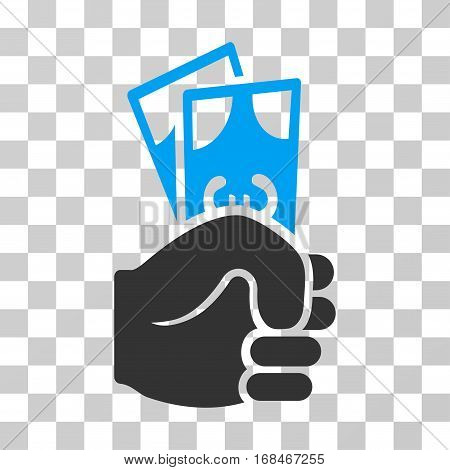 Euro Banknotes Salary icon. Vector illustration style is flat iconic bicolor symbol, blue and gray colors, transparent background. Designed for web and software interfaces.