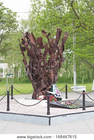 RUSSIA, NOVOROSSIYSK - MAY 10, 2015:A monument from fragments of shells the liberators of the city of Novorossiysk from fascist invaders