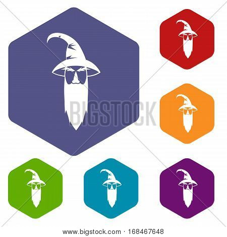 Wizard icons set rhombus in different colors isolated on white background