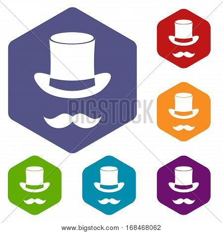 Magic black hat and mustache icons set rhombus in different colors isolated on white background