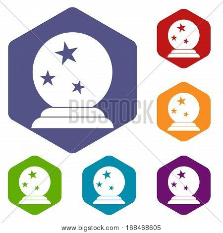 Magic ball icons set rhombus in different colors isolated on white background