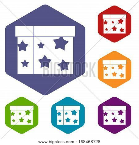 Box magician icons set rhombus in different colors isolated on white background
