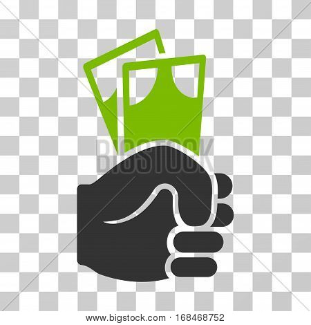 Banknotes Salary Hand icon. Vector illustration style is flat iconic bicolor symbol, eco green and gray colors, transparent background. Designed for web and software interfaces.
