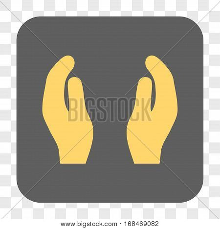 Applause Hands interface toolbar button. Vector icon style is a flat symbol on a rounded square button yellow and gray colors chess transparent background.