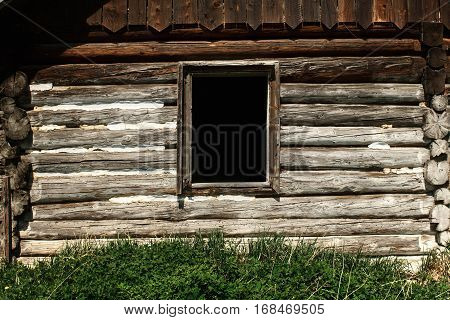 Old Window And Wooden Cottage, Aged Cottage, Traveling In Sunny Mountains