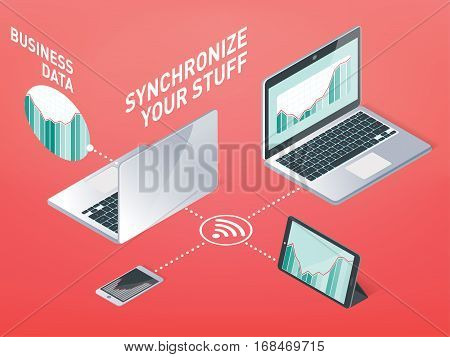 Business Synchronization, Information Synchronization Device In The Wireless Network And The Interne