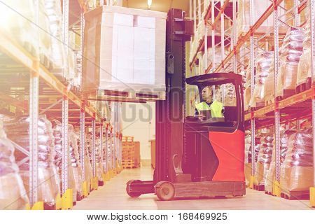 wholesale logistic loading shipment and people concept man or loader with tablet