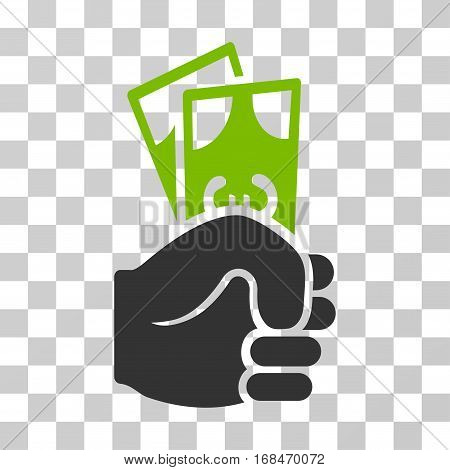 Euro Banknotes Salary icon. Vector illustration style is flat iconic bicolor symbol, eco green and gray colors, transparent background. Designed for web and software interfaces.
