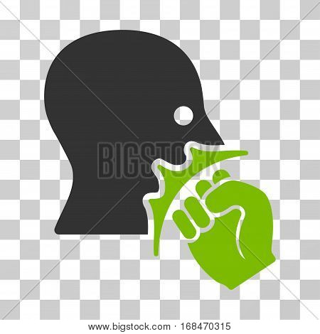Face Violence Strike icon. Vector illustration style is flat iconic bicolor symbol, eco green and gray colors, transparent background. Designed for web and software interfaces.