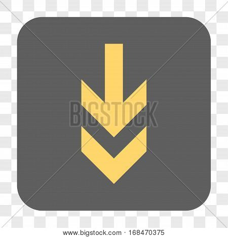 Arrow Down interface toolbar button. Vector icon style is a flat symbol on a rounded square button yellow and gray colors chess transparent background.