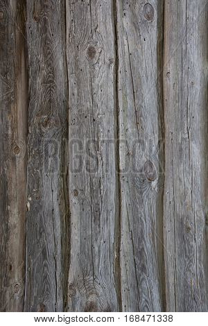 Brown rustic old wooden background. Vertical timber planks.