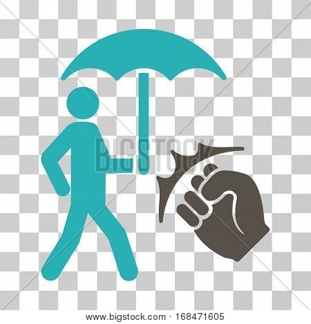 Crime Coverage icon. Vector illustration style is flat iconic bicolor symbol, grey and cyan colors, transparent background. Designed for web and software interfaces.