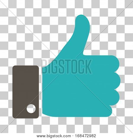 Thumb Up icon. Vector illustration style is flat iconic bicolor symbol, grey and cyan colors, transparent background. Designed for web and software interfaces.