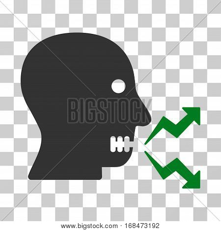 Angry Person Shout icon. Vector illustration style is flat iconic bicolor symbol, green and gray colors, transparent background. Designed for web and software interfaces.