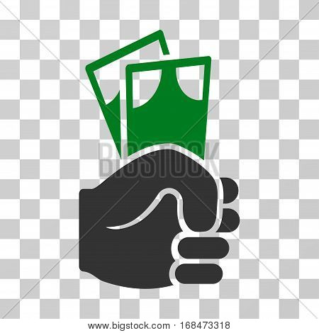Banknotes Salary Hand icon. Vector illustration style is flat iconic bicolor symbol, green and gray colors, transparent background. Designed for web and software interfaces.