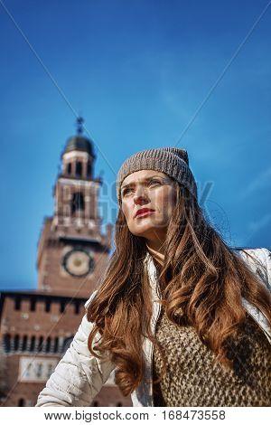 Portrait Of Trendy Traveller Woman In Milan, Italy