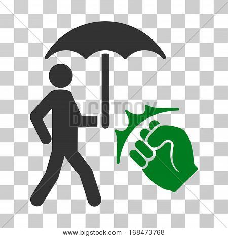 Crime Coverage icon. Vector illustration style is flat iconic bicolor symbol, green and gray colors, transparent background. Designed for web and software interfaces.