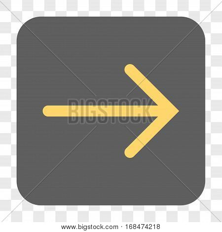 Arrow Right interface toolbar button. Vector icon style is a flat symbol inside a rounded square button yellow and gray colors chess transparent background.