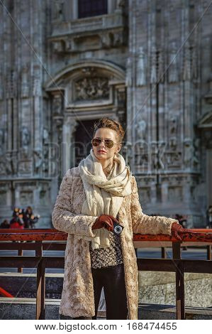 Traveller Woman In Milan Holding Digital Photo Camera