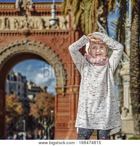Smiling Trendy Child In Barcelona, Spain Standing