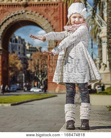 Smiling Modern Child In Barcelona, Spain