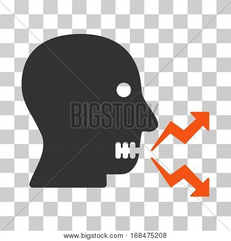 Angry Person Shout icon. Vector illustration style is flat iconic bicolor symbol, orange and gray colors, transparent background. Designed for web and software interfaces.