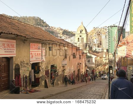 BOLIVIA LA PAZ 7 JUNE 2015 - One of the historical streets of the center in the city of La Paz Bolivia. The streets of downtown La Paz are steep and full of shops. At a height of 3,650 MASL, La Paz is the highest capital in the world