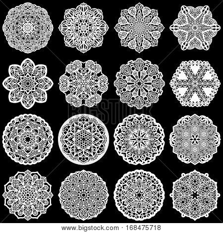 Large set of design elements lace round paper doily doily to decorate the cake template for cutting greeting element snowflake laser cut; vector illustrations
