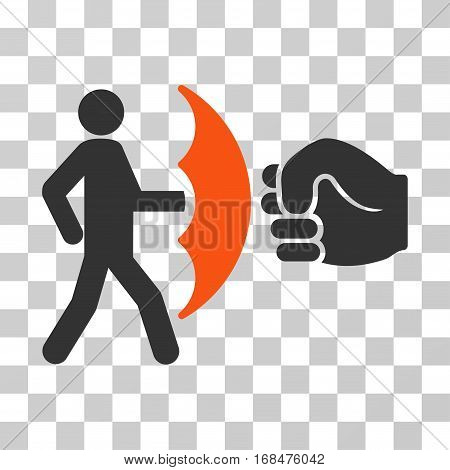 Crime Protection icon. Vector illustration style is flat iconic bicolor symbol, orange and gray colors, transparent background. Designed for web and software interfaces.