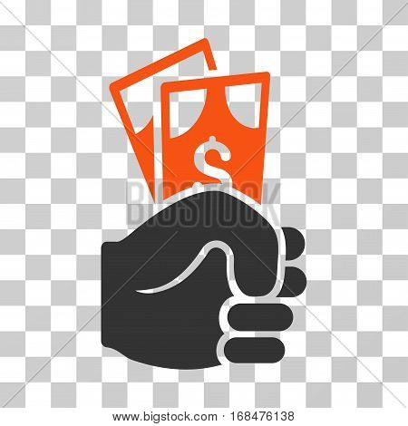Dollar Banknotes Salary icon. Vector illustration style is flat iconic bicolor symbol, orange and gray colors, transparent background. Designed for web and software interfaces.