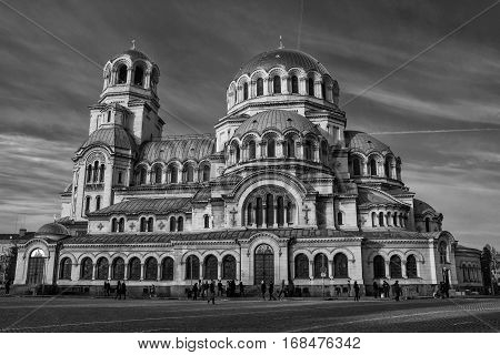 Alexander Nevsky Cathedral in Sofia Bulgaria, Europe, black and white arcitcural landscape.