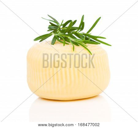 whole cheese with rosemary isolated on white