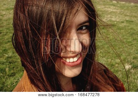 Stylish Beautiful Brunette Girl Walking And Smilling Outdoors In Spring Portrait