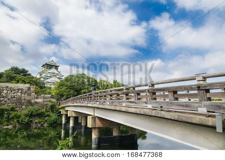 Osaka castle or Osaka-jo the landmark of Osaka in Japan