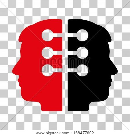 Dual Head Interface icon. Vector illustration style is flat iconic bicolor symbol, intensive red and black colors, transparent background. Designed for web and software interfaces.