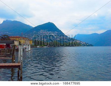 Beautiful Lake Lugano in Switzerland. Region Ticino