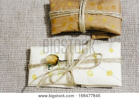 Simple Eco Wrap Packaging Gift In Craft Paper, Rustic Presents