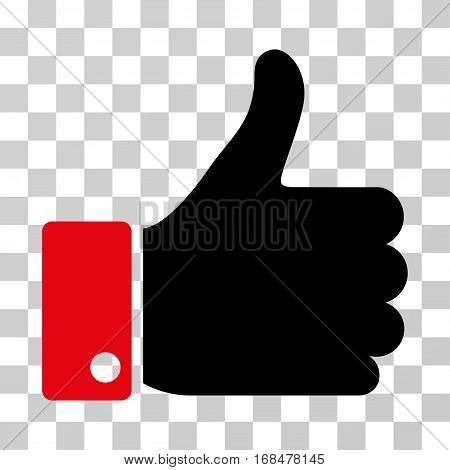 Thumb Up icon. Vector illustration style is flat iconic bicolor symbol, intensive red and black colors, transparent background. Designed for web and software interfaces.