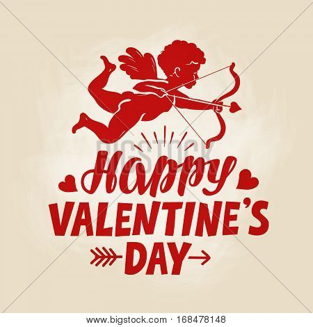 Happy Valentine's Day, greeting card. Flying angel, cherub or cupid with bow and arrow. Vintage vector