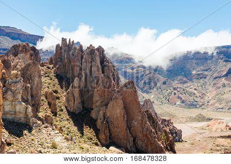 petrified lava flows of Teide volcano Roques de Garcia, Teide National park, Tenerife, Canary islands, Spain