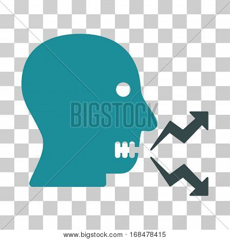 Angry Person Shout icon. Vector illustration style is flat iconic bicolor symbol, soft blue colors, transparent background. Designed for web and software interfaces.