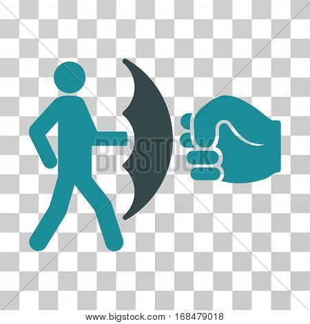 Crime Protection icon. Vector illustration style is flat iconic bicolor symbol, soft blue colors, transparent background. Designed for web and software interfaces.