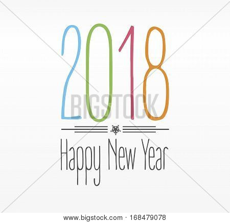 Happy New Year 2018 colorful text Card