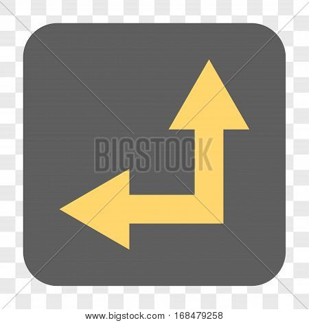 Bifurcation Arrow Left Up interface toolbar button. Vector icon style is a flat symbol on a rounded square button yellow and gray colors chess transparent background.