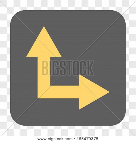 Bifurcation Arrow Right Up interface toolbar button. Vector icon style is a flat symbol inside a rounded square button yellow and gray colors chess transparent background.