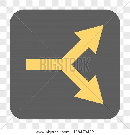 Bifurcation Arrow Right interface toolbar button. Vector icon style is a flat symbol in a rounded square button yellow and gray colors chess transparent background.