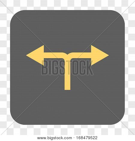 Bifurcation Arrows Left Right interface toolbar button. Vector icon style is a flat symbol in a rounded square button yellow and gray colors chess transparent background.