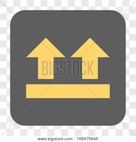 Bring Up interface toolbar button. Vector icon style is a flat symbol in a rounded square button yellow and gray colors chess transparent background.