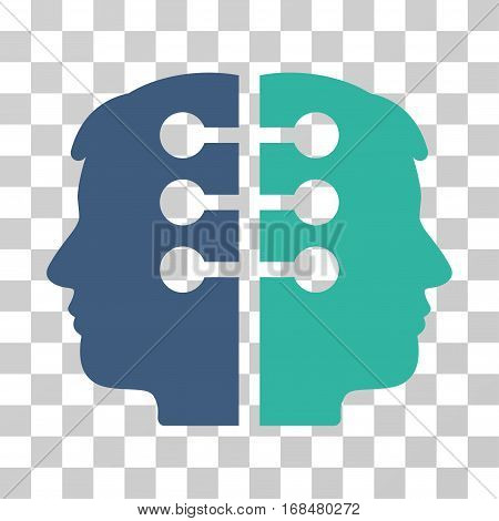 Dual Head Interface icon. Vector illustration style is flat iconic bicolor symbol, cobalt and cyan colors, transparent background. Designed for web and software interfaces.