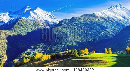 Impressive Italian Alps in Valle d'Aosta with small villages. Northen Italy